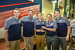 BIRMINGHAM, AL - MARCH 11: The Queens University Men's coaching staff pose for a photo after their team 563.5 point victory during the Division II Men's and Women's Swimming & Diving Championship held at the Birmingham CrossPlex on March 11, 2017 in Birmingham, Alabama. (Photo by Matt Marriott/NCAA Photos via Getty Images)