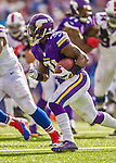 19 October 2014: Minnesota Vikings running back Jerick McKinnon rushes for yardage in the second quarter against the Buffalo Bills at Ralph Wilson Stadium in Orchard Park, NY. The Bills defeated the Vikings 17-16 in a dramatic, last minute, comeback touchdown drive. Mandatory Credit: Ed Wolfstein Photo *** RAW (NEF) Image File Available ***