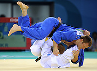 Germany's Ole Bischof (in blue) fights Ukraine's Roman Gontiuk (in white) during the -81 kg Men Judo competition in Beijing, China, on August 12, 2008. Photo by Lucas Schifres/Pictobank/Cameleon/ABACAPRESS.COM