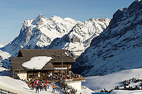 Ski restaurant at Kleiner Scheidegg looking towards the Wetterhorn mountain - Swiss Alps - Switzerland