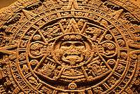 Aztec Calendar Stone or Sun Stone, Sala Mexica, National Museum of Anthropolgy, Mexico City. This calendar discovered in 1790 beneath Mexico City's Zocalo.