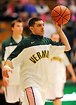 13 February 2011: University of Vermont Catamount guard Joey Accaoui, a Senior from Lincoln, RI, warms up prior to game action against the Binghamton University Bearcats at Patrick Gymnasium in Burlington, Vermont. The Catamounts came from behind to defeat the Bearcats 60-51 in their America East matchup. The Cats took part in the National Pink Zone Breast Cancer Awareness Program by wearing special white jerseys with pink trim. The jerseys were auctioned off following the game with proceeds going to the Vermont Cancer Center. Mandatory Credit: Ed Wolfstein Photo