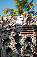 Caye Caulker, Belize, April 2012. lobster traps wait for the fishing season to open. Enjoy the beach sand and Caribbean Sea, explore the underwater wonders, try the tasty seafood specials, or experience the laid-back island life. With a population of approximately 1,200 people, the island appeals to visitors looking for a comfortable place to sleep, a white sandy beach, clear aquamarine waters, a variety of bird life, and friendly people. Spend the day snorkeling, fishing, diving, or laying peacefully in your own hammock. In contrast to many other bustling destinations, Caye Caulker has managed to maintain its cozy island appeal.Photo by Frits Meyst/Adventure4ever.com