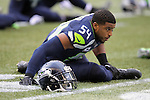 Seattle Seahawks linebacker Bobby Wagner (54) stretches out before their game against the Cleveland Browns at CenturyLink Field in Seattle, Washington on December 20, 2015. The Seahawks clinched their fourth straight playoff berth in four seasons by beating the Browns 30-13.  ©2015. Jim Bryant Photo. All Rights Reserved.
