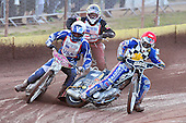 Heat 2 re-run: Brandon Freemantle (red), Dylan Black (white) and Joey Holy off the start - Hackney Hawks vs Team America - Speedway Challenge Meeting at Rye House - 09/04/11 - MANDATORY CREDIT: Gavin Ellis/TGSPHOTO - Self billing applies where appropriate - Tel: 0845 094 6026
