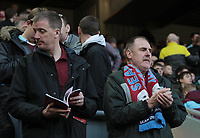 Burnley fans wait for the second half actin to get under way<br /> <br /> Photographer Rich Linley/CameraSport<br /> <br /> The Premier League - Liverpool v Burnley - Sunday 12 March 2017 - Anfield - Liverpool<br /> <br /> World Copyright &copy; 2017 CameraSport. All rights reserved. 43 Linden Ave. Countesthorpe. Leicester. England. LE8 5PG - Tel: +44 (0) 116 277 4147 - admin@camerasport.com - www.camerasport.com