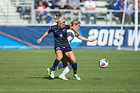 Cary, North Carolina - Sunday December 6, 2015: Frannie Crouse (9) of the Penn State Nittany Lions battles for the ball with Morgan Reid (24) of the Duke Blue Devils during first half action at the 2015 NCAA Women's College Cup at WakeMed Soccer Park.  The Nittany Lions defeated the Blue Devils 1-0.