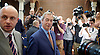Nigel Farage <br /> UKIP Leader <br /> Resignation speech <br /> at Emmanuel Centre, Westminster, London, Great Britain <br /> 4th July 2016 <br /> <br /> <br /> Nigel Farage leaves the meeting <br /> <br /> <br /> Photograph by Elliott Franks <br /> Image licensed to Elliott Franks Photography Services