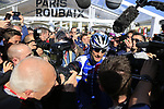 Media scrum around 4 time winner Tom Booonen (BEL) Quick-Step Floors at sign on for the 115th edition of the Paris-Roubaix 2017 race running 257km Compiegne to Roubaix, France. 9th April 2017.<br /> Picture: Eoin Clarke | Cyclefile<br /> <br /> <br /> All photos usage must carry mandatory copyright credit (&copy; Cyclefile | Eoin Clarke)