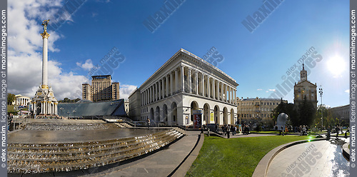Travel panoramic stock photo of Independence Square Maydan Nezalejnosti in Kiev Ukraine Monument of with a woman symbol of Ukraine on the left and The Ukrainian National Tchaikovsky Academy of Music at the center September 2007 The original size of this image is 15600 pixels by the longest side