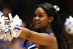 30 January 2012: Duke cheerleader. The Duke University Blue Devils played the University of Connecticut Huskies at Cameron Indoor Stadium in Durham, North Carolina in an NCAA Division I Women's basketball game.