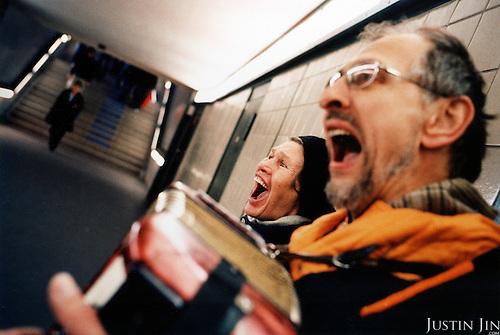 Russian singers busk in Berlin's Potsdamer Platz metro. .Picture taken 2005 by Justin Jin