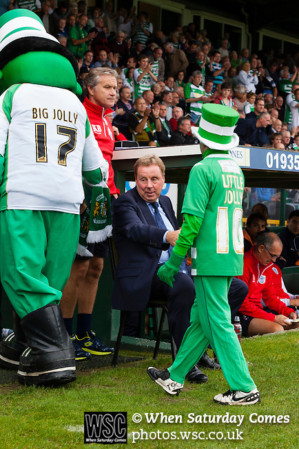 Yeovil Town 0 Queens Park Rangers 1, 21/09/2013. Huish Park, Championship. QPR manager Harry Redknapp shakes hands with the Yeovil mascots. Photo by Paul Thompson.