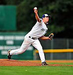 24 July 2010: Vermont Lake Monsters pitcher Matt Swynenberg on the mound against the Lowell Spinners at Centennial Field in Burlington, Vermont. The Spinners defeated the Lake Monsters 11-5 in NY Penn League action. Mandatory Credit: Ed Wolfstein Photo
