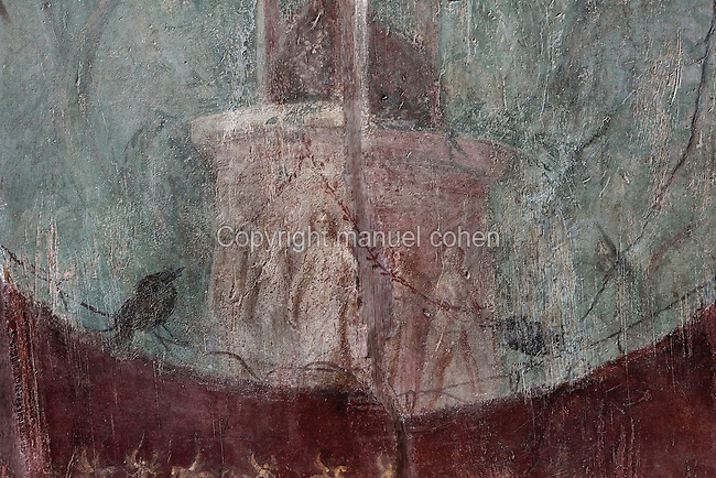 Fresco of a tripod on a base with relief, with a background of trees and birds, in the frigidarium or cold pool of the bathhouse of the Casa del Criptoportico, or House of the Cryptoporticus, Pompeii, Italy. This room is decorated in the Second Style of Pompeiian wall painting, 1st century BC. The house is one of the largest in Pompeii and was owned by the Valerii Rufi family and built in the 3rd century BC. It takes its name from the underground corridor used as a wine cellar and lit by small windows. Pompeii is a Roman town which was destroyed and buried under 4-6 m of volcanic ash in the eruption of Mount Vesuvius in 79 AD. Buildings and artefacts were preserved in the ash and have been excavated and restored. Pompeii is listed as a UNESCO World Heritage Site. Picture by Manuel Cohen