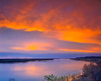 Spring Sunset on the Mississippi River, Lousiana on the Left Bank, Beginning of the Natchez Trail, Natchez, Mississippi