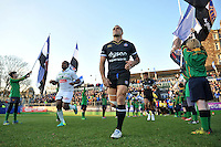 Kahn Fotuali'i and the rest of the Bath Rugby team run out onto the field. European Rugby Challenge Cup match, between Bath Rugby and Pau (Section Paloise) on January 21, 2017 at the Recreation Ground in Bath, England. Photo by: Patrick Khachfe / Onside Images