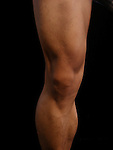 Asian American Male Surface Anatomy of the Knee Anterior View
