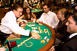 Blackjack table in Las Vegas, Nevada, Caesars Palace and Casino, gaming, gambling, chips, blackjack, betting croupier, blackjack players, model released, blackjack table, cards, NV, Las Vegas, Photo nv237-18339..Copyright: Lee Foster, www.fostertravel.com, 510-549-2202,lee@fostertravel.com