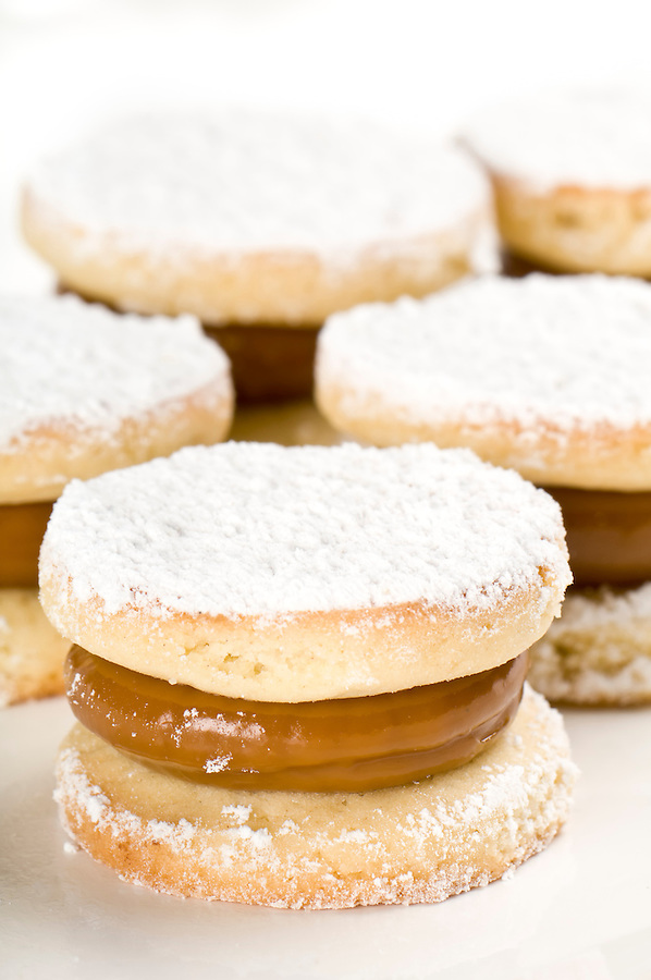 Close up of cornflour cookies filled with caramel.