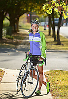 NWA Democrat-Gazette/BEN GOFF @NWABENGOFF<br /> Kyla Templeton poses for a photo on Thursday Oct. 1, 2015 along W. Central Ave. in downtown Bentonville. Templeton is an accomplished triathlete and heads Girls Bike Bentonville and the Arkansas Interscholastic Cycling League.