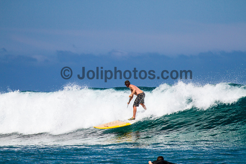 Namotu Island Resort, Fiji. (Saturday, September 2, 2012) -   Light winds this morning and with 3' swell  provided  waves at Cloudbreak, Namotu Lefts, Swimming Pools and Wilkes today. The SUP crew hit Lefts. During the day there was a pod 40 or more of dolphins hanging in the channel and humpback whale spent time breeching off the back of Pools. A pretty much magic day for Joli's birthday.  Photo: joliphotos.com