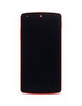 Google Android Nexus 5 red phone with blank screen isolated on white background with clipping path