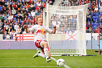 Dax McCarty (11) of the New York Red Bulls fails to chase down a ball. The New York Red Bulls defeated the Colorado Rapids 4-1 during a Major League Soccer (MLS) match at Red Bull Arena in Harrison, NJ, on March 25, 2012.