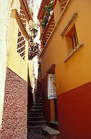 The Callejon del Beso or Alley of the Kiss in the Spanish Colonial city of Guanajuato, Mexico. Guanjuato is a UNESCO World Heritage Site.