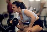 Los Angeles, April, 1981. Chris Glass, body building star, training.