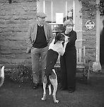 The Blencathra Foxhounds. Hounds develop a strong bond with the families they go out to walk with each summer. The meet at the Old Crown. Hesket Newmarket, Cumbria. ..Hunting with Hounds / Mansion Editions (isbn 0-9542233-1-4) copyright Homer Sykes. +44 (0) 20-8542-7083. &lt; www.mansioneditions.com &gt;