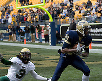 South Florida Bulls defensive back Jerome Murphy (3) watches helplessly as Pitt Panthers wide receiver Maurice Williams hauls in a 37-yard touchdown reception. Despite the catch the Bulls were able to defeat the Panthers 48-37 on November 24, 2007 at Heinz Field, Pittsburgh, Pennsylvania.
