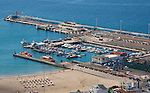 View of harbour,ferry port  and beach. Los Cristianos,Tenerife, Canary Islands, Spain.