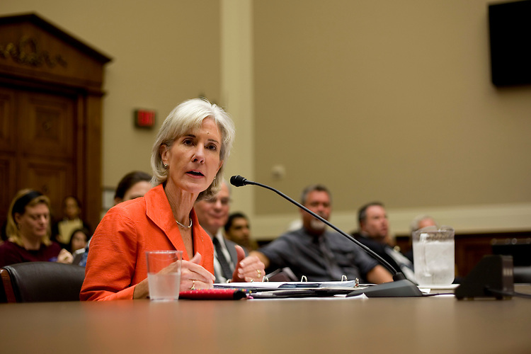 WASHINGTON, DC - September 15: Secretary of Health and Human Services Kathleen Sebelius testifies before the House Energy and Commerce Committee on preparations for the upcoming flu season and the N1H1 virus.  (Photo by Ryan Kelly/Congressional Quarterly)