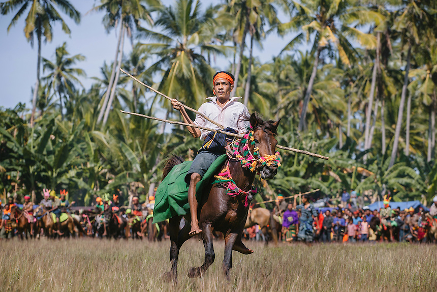 A Pasola warrior ready to charge the enemy forces during the event in Rara Winyo, Kodi. Pasola is an ancient tradition from the Indonesian island of Sumba. Categorized as both extreme traditional sport and ritual, Pasola is an annual mock horse warfare performed in response to the harvesting season. In the battelfield, the Pasola warriors use blunt spears as their weapon. However, fatal accident still do occurs.