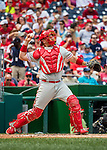 11 September 2016: Philadelphia Phillies catcher A.J. Ellis in action against the Washington Nationals at Nationals Park in Washington, DC. The Nationals edged out the Phillies 3-2 to take the rubber match of their 3-game series. Mandatory Credit: Ed Wolfstein Photo *** RAW (NEF) Image File Available ***