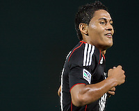 Andy Najar #14 of D.C. United after scoring during an MLS match against the Houston Dynamo at RFK Stadium in Washington D.C. on September  25 2010. Houston won 3-1.