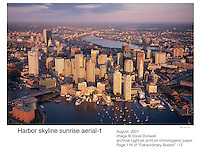 Boston harbor sunrise aerial skyline
