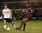 1 November 2006: Boston College's Sherron Manswell (right) and Maryland's Stephen King (7). Maryland defeated Boston College 1-0 in double overtime at the Maryland Soccerplex in Germantown, Maryland in an Atlantic Coast Conference college soccer tournament quarterfinal game.