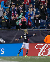 Foxborough, Massachusetts - October 1, 2016: In a Major League Soccer (MLS) match, New England Revolution (blue/white) defeated Sporting Kansas City (white), 3-1, at Gillette Stadium.<br /> Goal celebration.