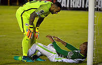 TUNJA -COLOMBIA, 13-05-2017: Christian Vargas, árquero, y Edwin Velasco player of Nacional durante el encuentro entre Patriotas FC y Atletico Nacional por la fecha 18 de la Liga Águila I 2017 realizado en el estadio La Independencia de Tunja. / Christian Vargas, goalkeeper, and Edwin Velasco of Nacional during the match between Patriotas FC and Atletico Nacional for the date 18 of Aguila League I 2017 played at La Independencia stadium in Tunja. Photo: VizzorImage / Javier Morales  / Cont