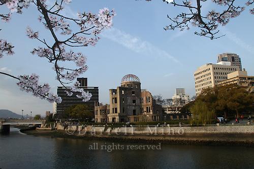 Apr. 04, 2010; Hiroshima, JPN - Cherry blossoms and the Genbaku Dome.