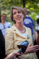 Democratic NYS gubernatorial candidate Zephyr Teachout speaks at a news conference in New York on Tuesday, August 26, 2014  about receiving the endorsement of the National Organization of Women-NYS in her candidacy for governor of New York State. Teachout, a Fordham University law professor is considered a long shot in the Democratic primary on Sept. 9 against well-funded incumbent Gov. Andrew Cuomo but supporters encourage voters to cast their ballot as a vote against Cuomo. The event was held at the Eleanor Roosevelt statue in Riverside Park on Women's Equality Day. (© Richard B. Levine)