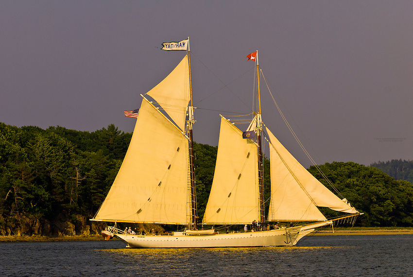 Schooner Mary Day sailing on Holbrook Bay (part of Penobscot Bay), Maine USA