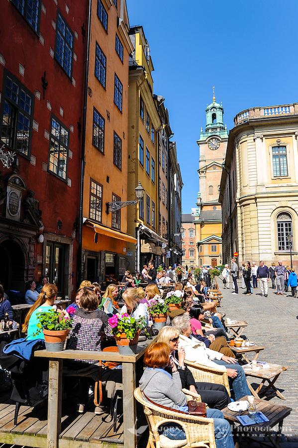 Sweden, Stockholm. Stortorget with Stockholm Stock Exchange and Storkyrkan in the background.