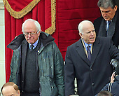 United States Senators Bernie Sanders (Independent of Vermont) and John McCain (Republican of Arizona) arrive for the ceremony where Donald J. Trump will be sworn-in as the 45th President of the United States on the West Front of the US Capitol on Friday, January 20, 2017.<br /> Credit: Ron Sachs / CNP<br /> (RESTRICTION: NO New York or New Jersey Newspapers or newspapers within a 75 mile radius of New York City)