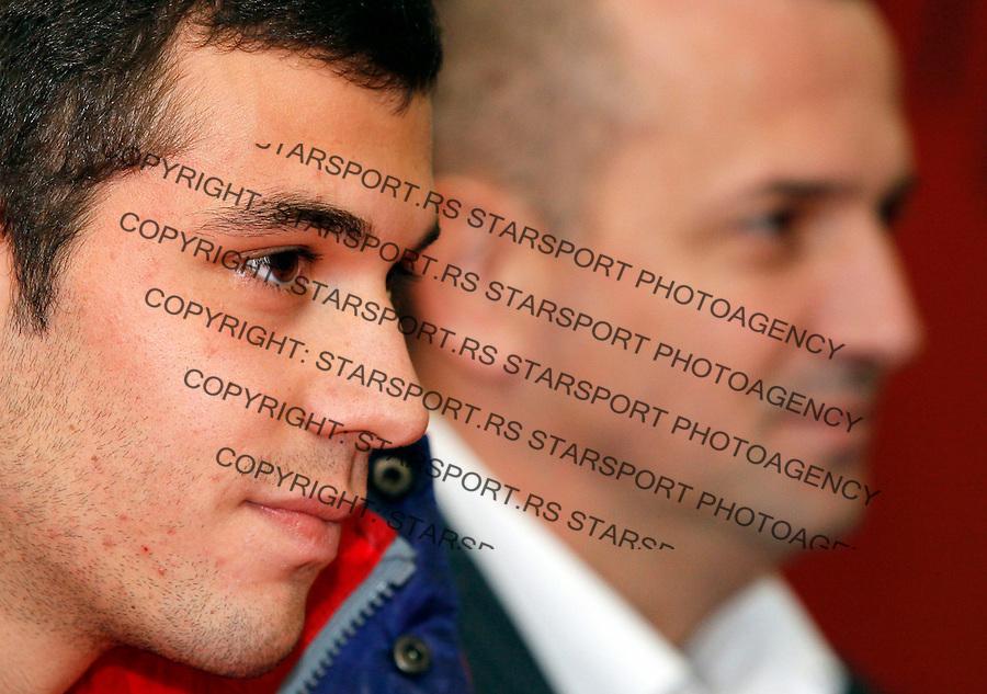 Fudbal.Crvena Zvezda.Promocija novog igraca, Luka Milivojevic, left and Vladan Lukic.Beograd, 19.12.2011..foto: Srdjan Stevanovic/Starsportphoto ©
