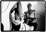 NEW YORK - AUGUST 1992:  Musicians Flea, left, and Arik Marshall, right, of the Red Hot Chili Peppers pose for a portrait in Flea's hotel room in August 1992 in New York City, New York. (Photo by Catherine McGann).Copyright 2010 Catherine McGann