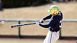 CARY, NC - MARCH 05: Notre Dame's Daniel Jung hits a double. The Monmouth University Hawks played the University of Notre Dame Fighting Irish on March 5, 2017, at USA Baseball NTC Field 2 in Cary, NC in a Division I College Baseball game, and part of the Irish Classic tournament. Notre Dame won the game 4-0.