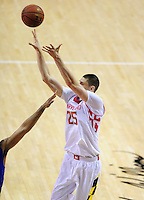 Alex Len of the Terrapins pulls up for a baseline jumper. Maryland defeated Duke 81-83 at the Comcast Center in College Park, MD on Saturday, February 16, 2013. Alan P. Santos/DC Sports Box
